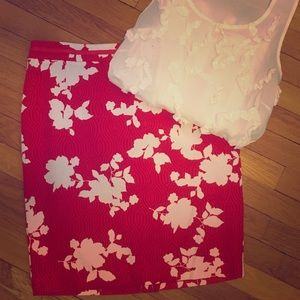 NWT Talbots Red Floral Skirt